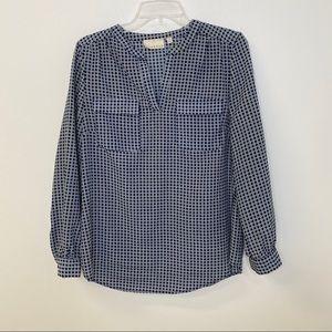 Kenar Blouse Navy White Geometric Shirt V Neck